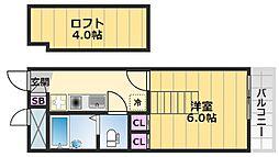 レオパレス花水木二番館 2階1Kの間取り
