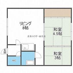 第二秀栄荘 1階2DKの間取り