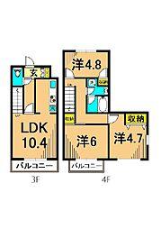 アツミマンション 3階3LDKの間取り
