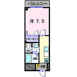 岡山県総社市中央6丁目の賃貸マンションの間取り