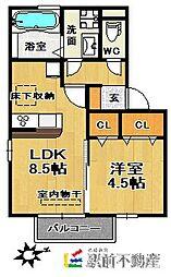 西鉄天神大牟田線 津福駅 徒歩2分の賃貸アパート 2階1LDKの間取り