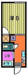 第1サフランハイツ[2-B号室]の間取り