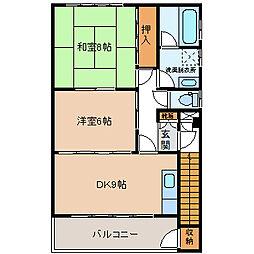 長野県茅野市本町東の賃貸アパートの間取り