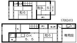 [一戸建] 大阪府大阪市東住吉区北田辺6丁目 の賃貸【/】の間取り