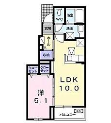 ファミールK山崎 1階1LDKの間取り