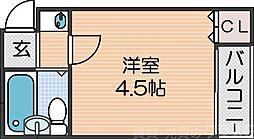 ケアンズクラブ帝塚山 3階1Kの間取り