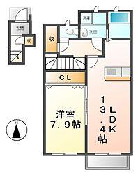 愛知県清須市春日屋敷の賃貸アパートの間取り