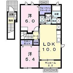 ラ・フォンテKI 2階2LDKの間取り