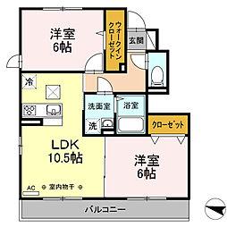 JR東海道本線 戸塚駅 バス6分 諏訪神社前下車 徒歩25分の賃貸アパート 1階2LDKの間取り