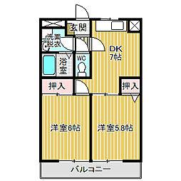 愛知県名古屋市中川区かの里1丁目の賃貸マンションの間取り