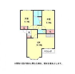 愛知県小牧市多気南町の賃貸アパートの間取り