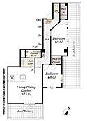 間取図/4階部分南東角住戸 2LDK2Wic2ルーフバルコニー