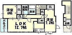 [タウンハウス] 福岡県糟屋郡志免町田富3丁目 の賃貸【/】の間取り