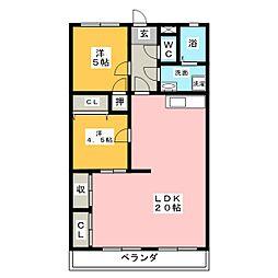 ファミール谷田[4階]の間取り