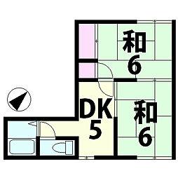 滋賀県湖南市中央5丁目の賃貸アパートの間取り