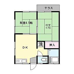 飯草ハイツA[2階]の間取り