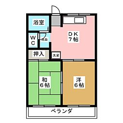 ファミール港明[2階]の間取り