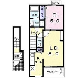 伊予鉄道高浜線 山西駅 徒歩15分の賃貸アパート 2階1LDKの間取り