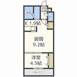 札幌市営南北線 北34条駅 徒歩2分の賃貸マンション 3階1LDKの間取り