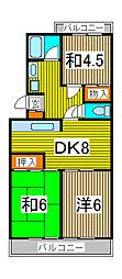 第二ベルハイツ[1階]の間取り