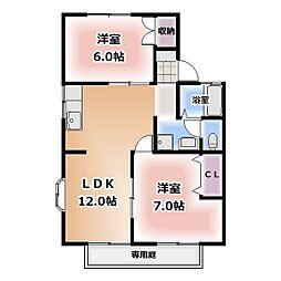 愛知県北名古屋市熊之庄の賃貸アパートの間取り