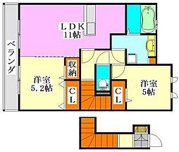 ベルデュール五番館[2階]の間取り