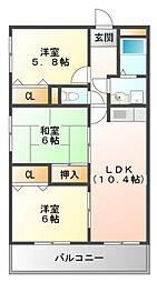シャトーふじ[1階]の間取り
