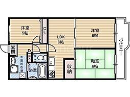 ネオコーポ鶴見緑地[2階]の間取り