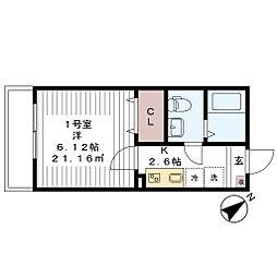千葉県習志野市奏の杜1丁目の賃貸アパートの間取り