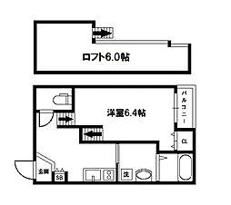 大阪府豊中市浜1丁目の賃貸アパートの間取り