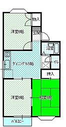 広島県広島市佐伯区五日市中央1丁目の賃貸アパートの間取り