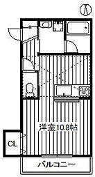 三高・ヴィラ水車公園 3階ワンルームの間取り