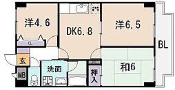 大阪府東大阪市下小阪5丁目の賃貸マンションの間取り