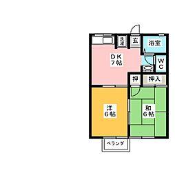 シティハイム レトア立原 B[2階]の間取り