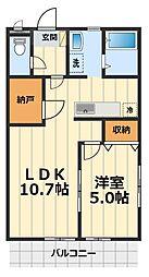神奈川県綾瀬市蓼川3丁目の賃貸アパートの間取り