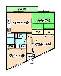 兵庫県神戸市垂水区山手8丁目の賃貸マンションの間取り