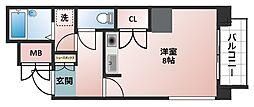 I Cube 阿波座[8階]の間取り
