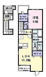 愛知県あま市中萱津西ノ川の賃貸アパートの間取り