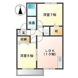 コート オンジェーム D-Room[2階]の間取り