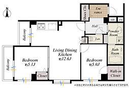 間取図/2階部分南西角部屋、室内リフォーム3月末完了 専有面積54.47m2 バルコニー面積6.09m2