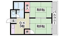 JR東海道・山陽本線 西明石駅 徒歩34分の賃貸アパート 1階2DKの間取り