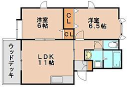 パティオ平田台B[1階]の間取り
