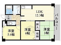 北大阪急行電鉄 桃山台駅 徒歩9分の賃貸マンション 3階3LDKの間取り
