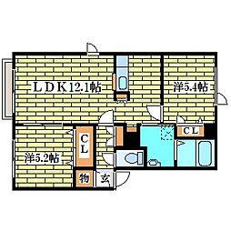 ディアス里塚B[2階]の間取り