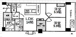 プリオーレ京都高倉六角 4階2SLDKの間取り