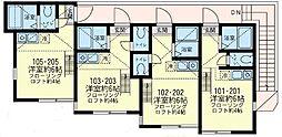 神奈川県横須賀市船越町4丁目の賃貸アパートの間取り