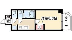 プレサンス THE MOTOYAMA 2階1Kの間取り