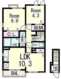 滋賀県東近江市五個荘石塚町の賃貸アパートの間取り