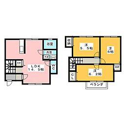 [テラスハウス] 静岡県磐田市二之宮 の賃貸【/】の間取り