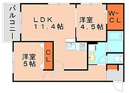 PHOENIX粕屋 (フェニックス) 3階2LDKの間取り